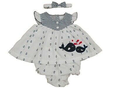 Nursery Time BNWT Baby Girls Navy White Sailing Ship Summer Dress Outfit Clothes