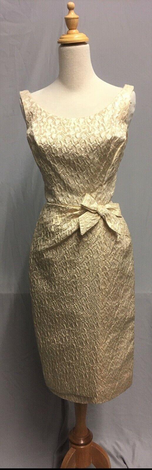 #20-082, 1950's Gold Metallic Brocade Hollywood Glamour Cocktail Dress