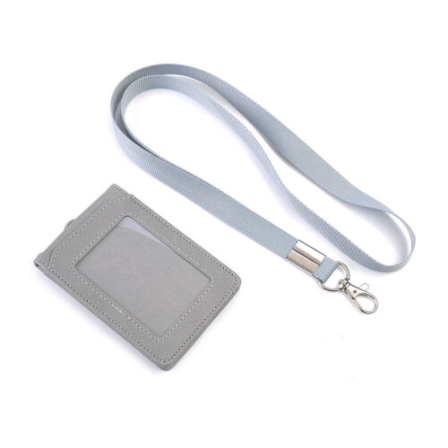 PV Leather Wallet Work Office ID Card Credit Holder Badge Neck Strap Lanyard New