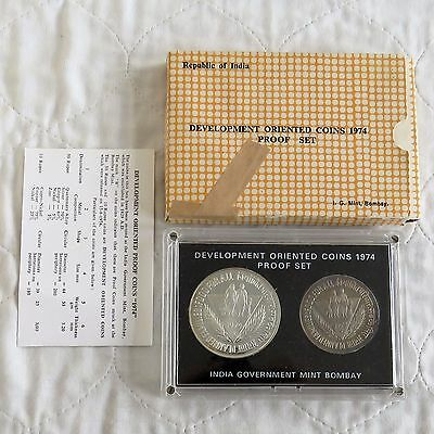 INDIA 1974 FOOD FOR ALL DEVELOPMENT ORIENTED PROOF SET WITH SILVER - complete