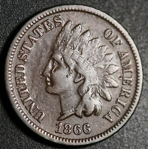 1866-INDIAN-HEAD-CENT-VF-Details-With-REPUNCHED-DATE-SNOW-5-RPD