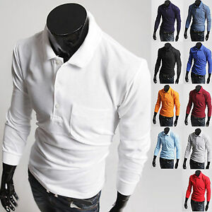 Mens Stylish Solid Pure Cotton Polo Pique Collar Casual Shirts Tops W823 XS-2XL