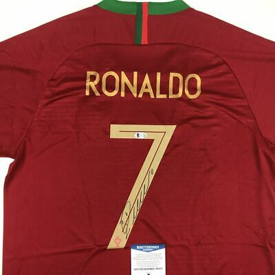 buy online 7122a 25ba1 Autographed/Signed CRISTIANO RONALDO Portugal Red World Cup Jersey Beckett  COA | eBay
