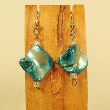 """1"""" Turquoise Color Mother of Pearl Shell Handmade Drop Dangle Earring"""