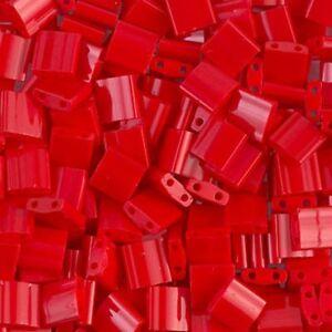 Miyuki-Tila-2-Hole-Square-Beads-5mm-Opaque-Red-7-2GM-MBTL-408