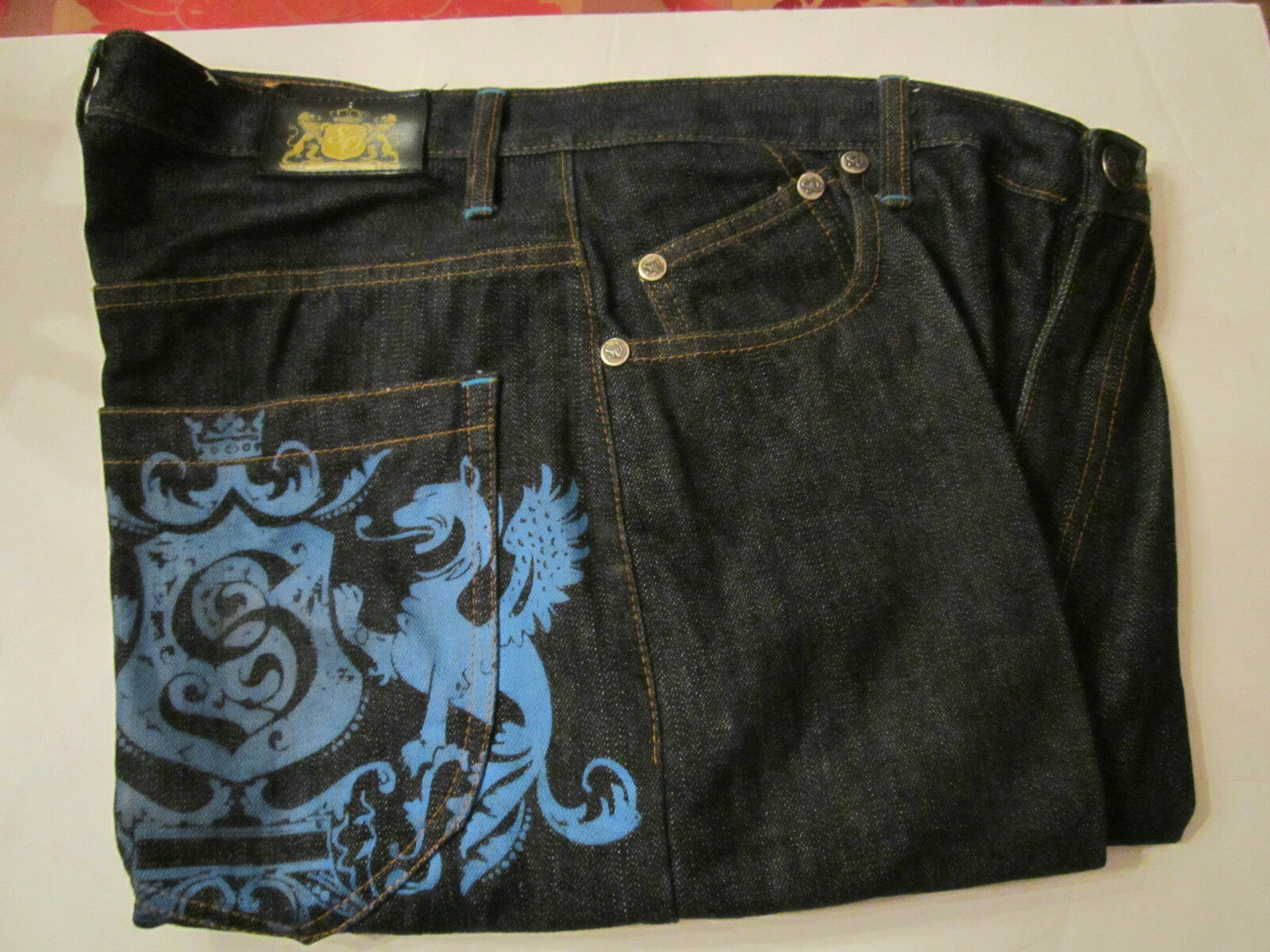 SACRED CULT JEANS WITH ALOT OF EMBROIDERY SIZE 38 X 32 100% COTTON IN EXCEL COND