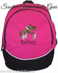 Image Is Loading Hunter Jumper Jumping Horse Hot Pink Backpack Book