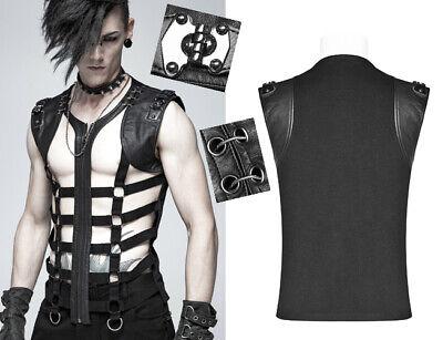 Cut-Out Shirt Oberteil Gothic Punk Destroy Schnürung Wirbelsäule PunkRave Herren