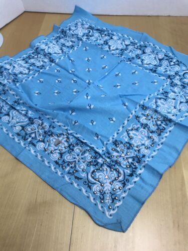 Vtg Antique Light Blue Embellished FLORAL COLORFAS
