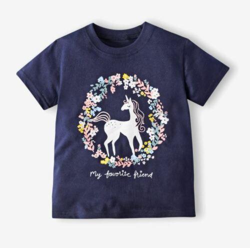 Filles Bébé Licorne ami Fleur T-shirt Top Dress Up Fête Anniversaire 1-7 ans