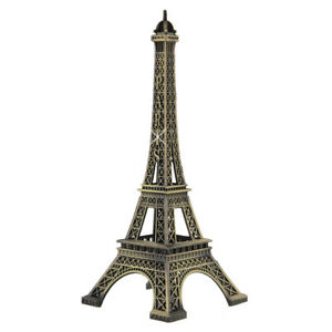 Eiffel-Tower-Paris-Statue-10-Inches-Metal-France-City-Souvenir-Replica-Travel