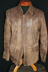 EXCEPTIONALLY-RARE-VINTAGE-1940-039-S-WWII-ERA-BROWN-LEATHER-JACKET-SIZE-LARGE