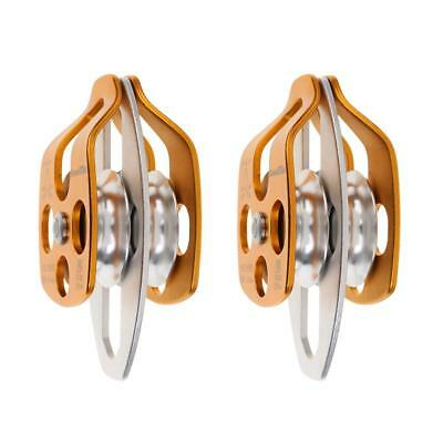2 Pack 32KN Swing Cheek Double Pulley for Climbing Arborist Rescue Hauling
