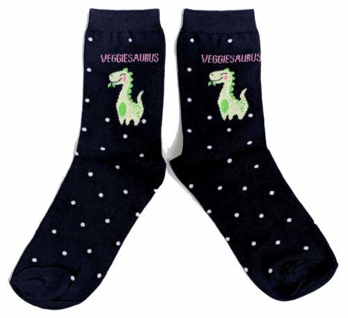 Mesdames veggiesaurus Végétarien Dinosaure chaussettes UK 4-8//EUR 37-42//US 6-10