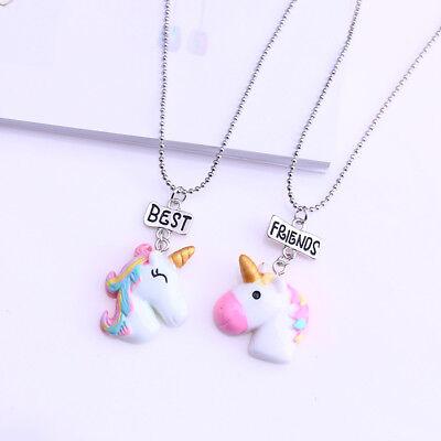 2Pc/set Cartoon Unicorn Charm Pendant Necklace Sweater Chain Choker Jewelry Gift