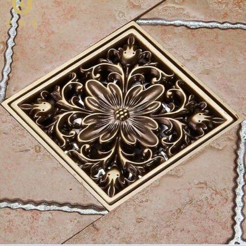 Blumenkunst geschnitzt Antik Messing Bodenablauf Duschablauf Schmutzfänger Abfal