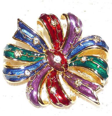 Nice JOAN RIVERS Multicolored Enamel & Clear Crystal Ribbon Bow Brooch/Pin CC23*