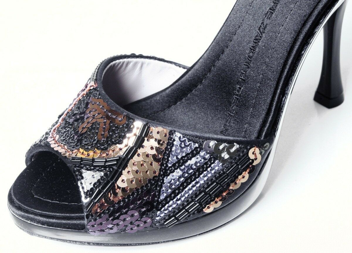 new $585 Giuseppe JEWELED ZANOTTI schwarz satin ALL JEWELED Giuseppe heels shoes platform mules e87c1d