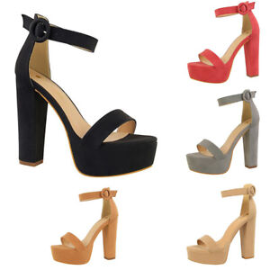 e632411c498 Image is loading Womens-Strappy-Heel-Platform-Ankle-Sandals-Ladies-Block-