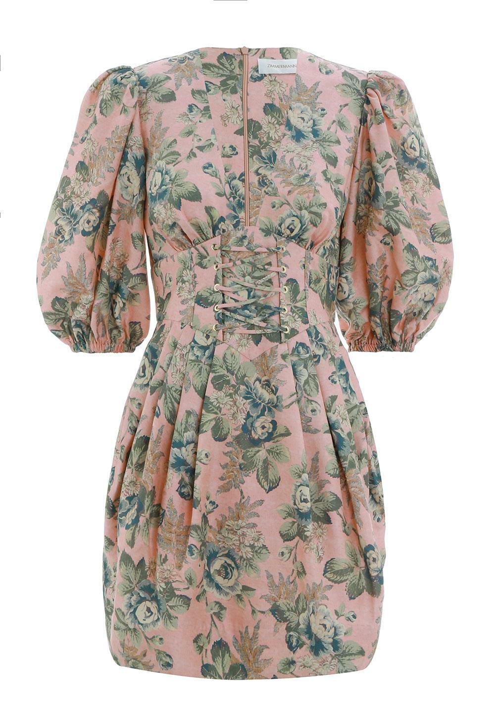 925 Zimmermann Tempest Floral Lace -up Dress Storlek 3 US 8 -10