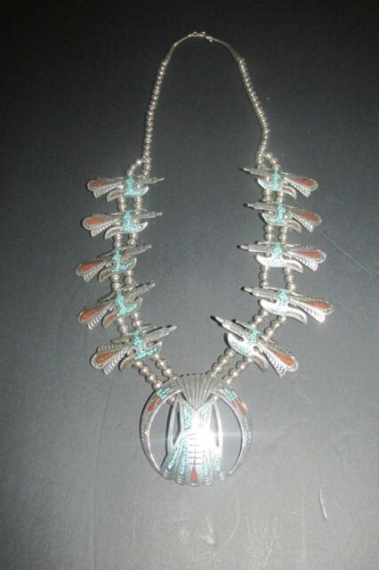 STERLING SILVER NATIVE AMERICAN BIRD SQUASH BLOSSOM NECKLACE LARGE