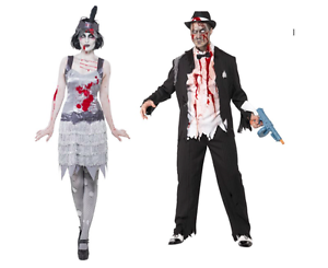 1920s Zombie Gangster Flapper Halloween Costume Couples Costumes