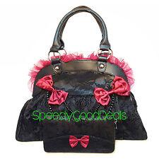 Banned Elegant Red Bow Skull Ivy Goth Steampunk HANDBAG & WALLET Gift SET Black