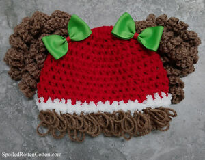 Crochet Christmas Hats Adults.Details About Cabbage Patch Kid Crochet Christmas Curly Hat Wig Infant Toddler Adult