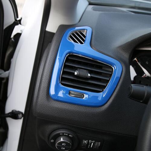 Blue 2pcs Car Dashboard Air Conditioner Vent Trim Frame For Jeep Compass 2017+