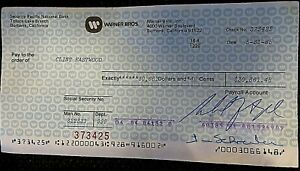 CLINT-EASTWOOD-ONE-OF-A-KIND-1985-PAYCHECK-FROM-WARNER-BROS