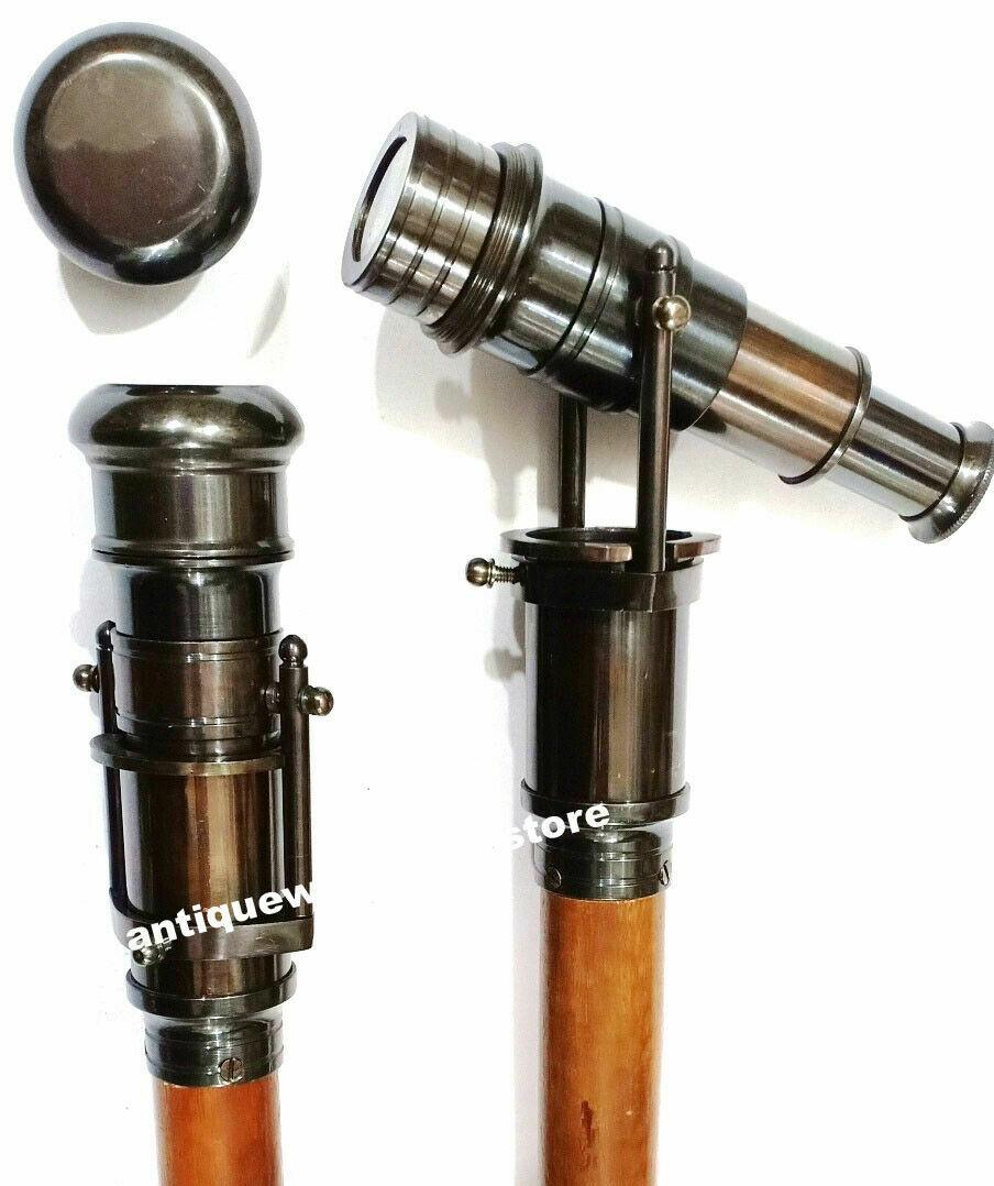 Brass Black Antique Finish Telescope Spyglass Handle Wooden Walking Stick Cane