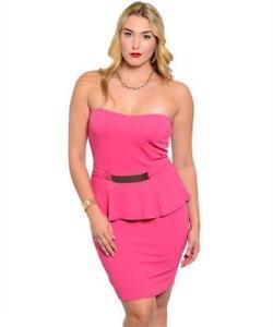 657f45f42a8 NEW..Sassy   Stylish Plus Size Pink Peplum Strapless Dress..Sz16 2XL ...