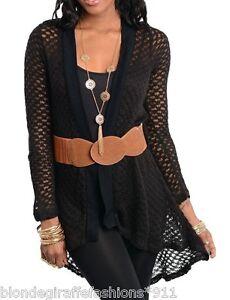 3280805075f Black Open Knit Crochet Sweater Shrug Cover-Up Tunic Cardigan w ...