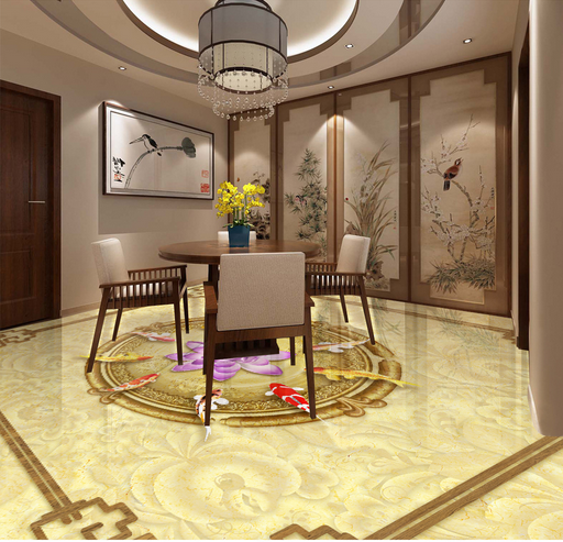 3D Flower Carp 657 Floor WallPaper Murals Wall Print 5D AJ WALLPAPER AU Lemon