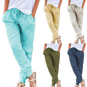 exceptional range of colors newest style 2019 factory price Details about Ladies Summer Solid Drawstring Casual Linen Pants Women  Trousers Pocket US STOCK