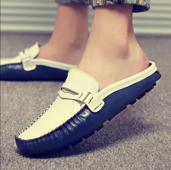 Hot Uomo Casual Slippers Slip On Loafers Pelle Slip On Flats Shoes Mules size