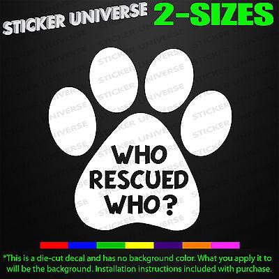 DOG RESCUER Sticker Car Window Vinyl Decal shelter pet rescue animal lover