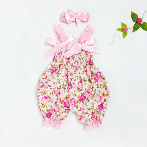 Baby Headband Bodysuit Clothes Girl Jumpsuit Newborn Romper Outfit Infant Floral