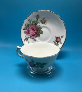 VINTAGE-CUP-SAUCER-TEA-COFFEE-BONE-CHINA-MELBA-MADE-IN-ENGLAND-D-9-Pink-Roses