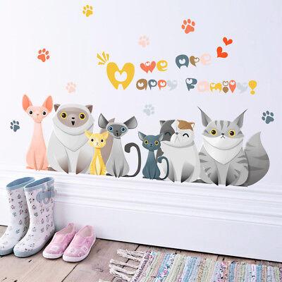 Kitten Cat Family Cabinet Door Decal Kids Room Diy Wall Decals Sticker 27x19 Ebay