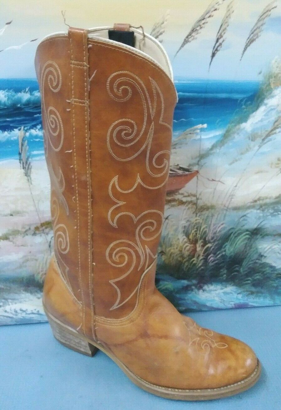 Acme Dingo Brown Leather Cowboy Boots Womens Size 7.5 M Style 7607 USA