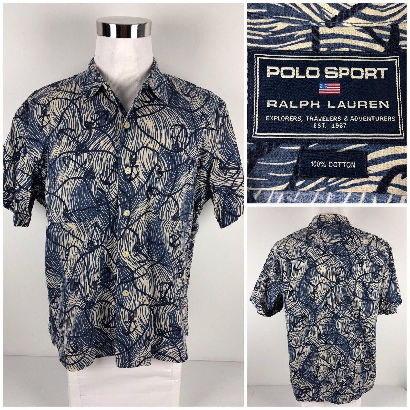 578d00380 Polo Sport Mens Large Shirt Button Front Sail Gear Anchor Multicolor 100%  Cotton