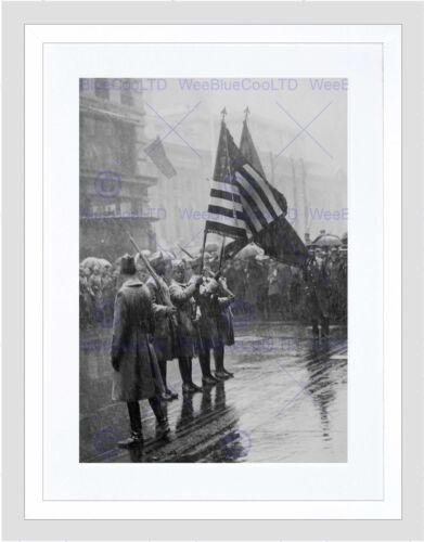 VINTAGE 367TH INFANTRY AFRICAN AMERICAN FLAG BLACK FRAMED ART PRINT B12X7387