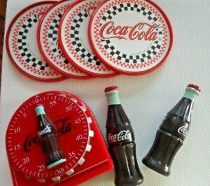 Vintage-Coca-Cola-Lot-MAGNETIC-TIMER-COKE-BOTTLE-CORN-HOLDERS-COASTERS