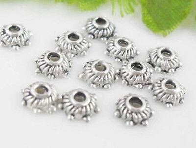 Free Ship 500Pcs Tibetan Silver Flower Bead Caps 5x2mm