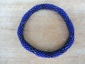 Textured-Electric-Blue-Handmade-Bracelet-Crocheted-Roll-Over-TB11