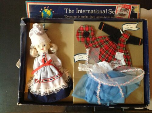 Uneeda Doll setInternational setFrance,India & Scotland fashions with doll7""