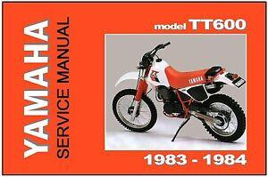 Yamaha Manual De Taller Tt600 tt600k y tt600l 1983 y 1984 ... on