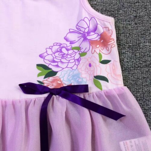 NEW Kids Baby Girl Summer Watercolour Floral Purple Tunic Top size 2.3.4.5.6.7.8