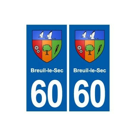 60 Breuil-le-Sec blason autocollant plaque stickers ville droits